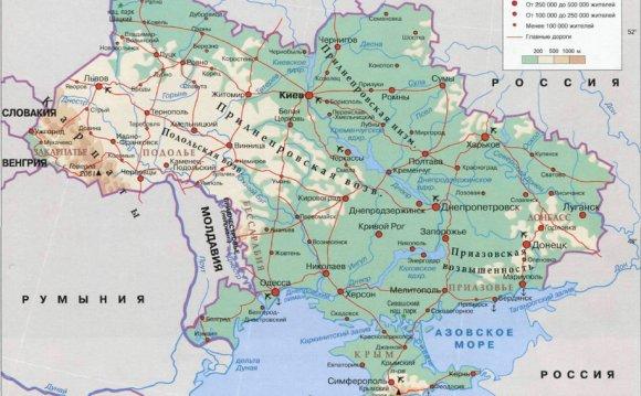 Карта Украины. Подробная карта